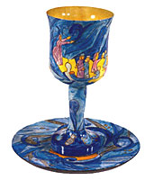 Wood Carved Kiddush Cup & Saucer - Exodus