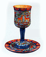Wood Carved Kiddush Cup & Saucer -Oriental