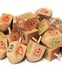 Jumbo Natural Wood 3'' Dreidels - 50 Pack