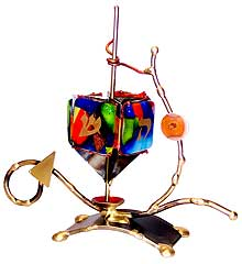 Gary Rosenthal Art Dreidel - Multi Color