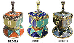 Hand Crafted Art Dreidels with Stand