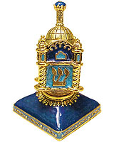 Hand Crafted Art Dreidel with Stand - Synagogue