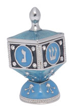 Enameled Hinged Dreidel With Stand