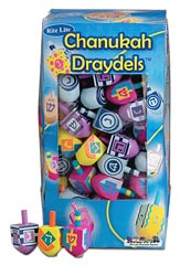 Medium Painted  Wood Dreidels - 100 Pack