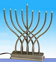 Electric Menorah with Low Volt Bulbs - Pewter Finish