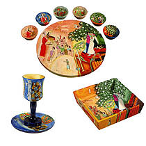 Wood Seder Set By Emanuel - Jewish Figures