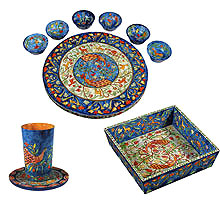 Wood Seder Set By Emanuel - Peacock