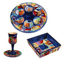 Wood Seder Set By Emanuel - Beautiful Jerusalem