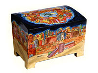 Emanuel Wood Painted Etrog Box - Jerusalem
