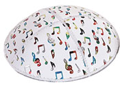 Fancy Foil Embossed Kippot - Musical Notes