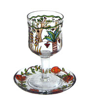 Painted Wineglass & Matching Saucer - 7 Species