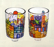 Set of 2 Shabbat Candle Glasses - Jerusalem