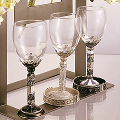Gemstone Kiddush Cups with Matching Tray