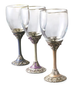 Gemstone Kiddush Cups with Screw off Glass
