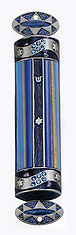 Gemstone Mezuzah Cover - Blue Glass