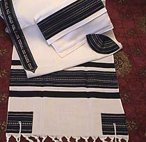 Soft Cotton Luxurious Tallit Set - Royal Blue on Black
