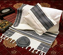 Soft Cotton Luxurious Tallit Set - Grey