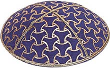 Foil Embossed Suede Kippah - Wheels Pattern