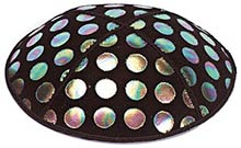 Foil Embossed Suede Kippot - Large Dots