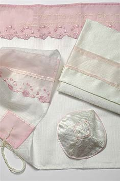 Poly Sheer Tallit Set - Pink