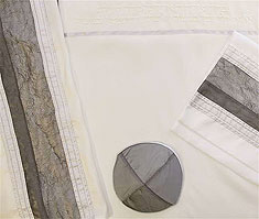 Silk Dupioni Tallit Set - Grey