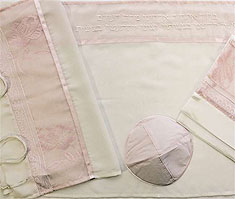 Poly Sheer Tallit Set - Pink Floral