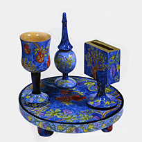 Carved Wood Havdalah Set - 7 Species