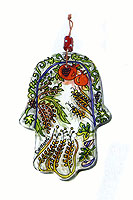 Painted Glass Hamsa Wall Hanging - 7 Species