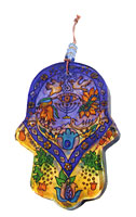 Painted Glass Hamsa Wall Hanging - Menorah