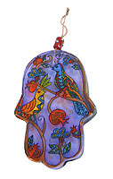 Painted Glass Hamsa Wall Hanging - Birds