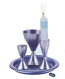 Anodized Aluminum Havdallah Set - Blue
