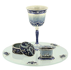 Bridal Havdallah Set - Blue / silver