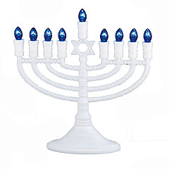 White Plastic Electric Menorah
