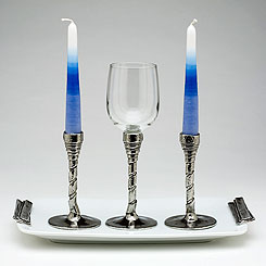 Porcelain Candlestick & Kiddush Cup Set - Rib