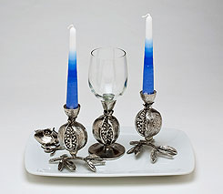 Porcelain Candlestick & Kiddush Cup Set - Pomegranate