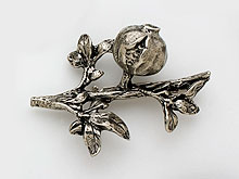 Hand Crafted Pewter Pin - Large Pomegranate