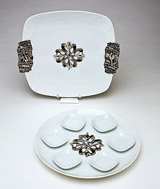 Quality Seder and Matzah Plates - Dove Design