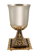 Byzantine Kiddush Cup Set - Purple / Silver