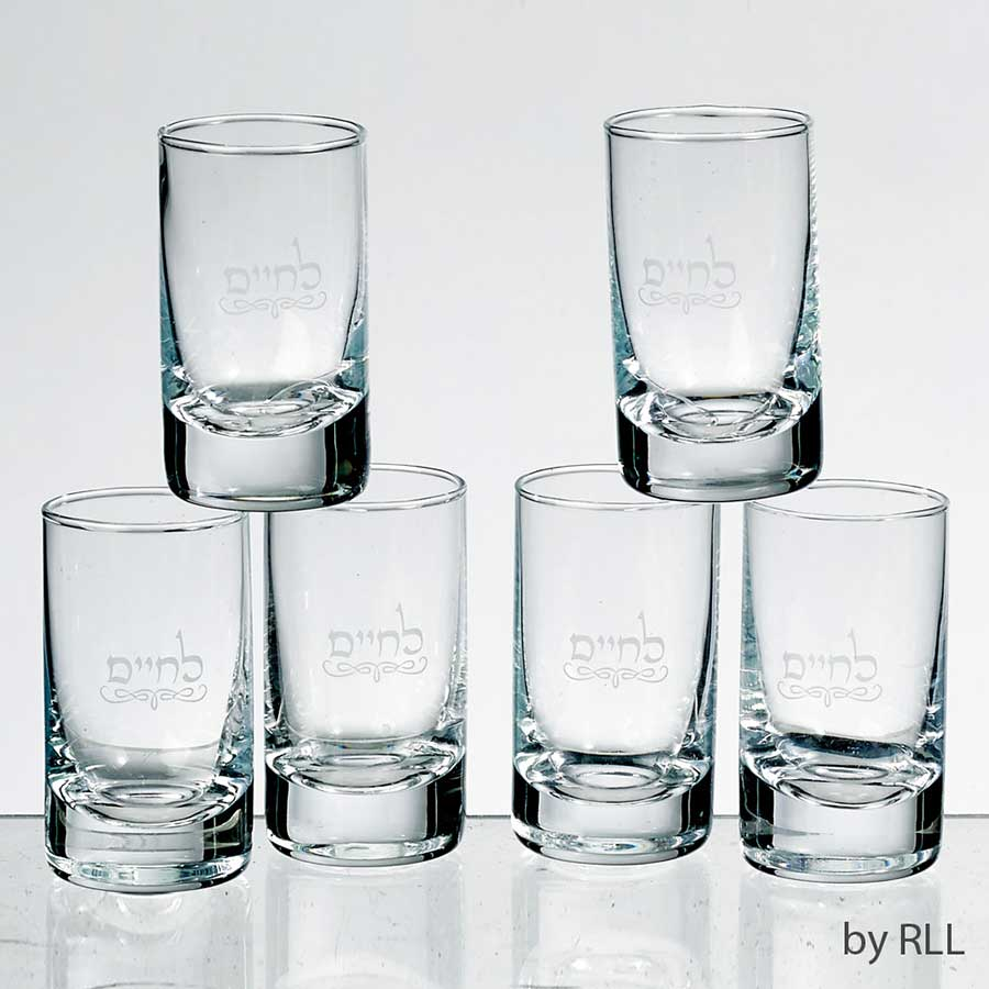 Set Of 6 Glasses With Frosted Tray L Chaim Set