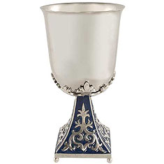 Byzantine Kiddush Cup Set - Blue / Silver