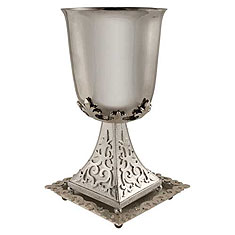 Byzantine Kiddush Cup Set - Silver