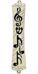 Jeweled Mezuzah Cover - Musical Notes
