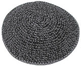 Hand Knitted Kippah - Medium Grey