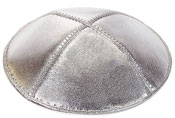 Leather Kippot - Silver Lame