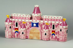 Ceramic Castle Menorah - Pink