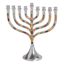 Large Classic Menorah - Inlaid Colored Stones