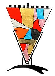 Stained Glass Art Menorah - Mosaic Triangle