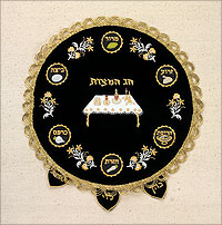 Embroidered Velvet Matzah Cover - Passover Symbols