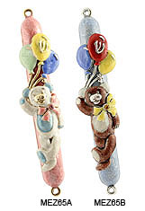 Hand Crafted Mezuzah Cover - Teddy Bear w/Balloons