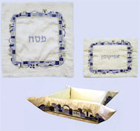Raw Silk 3 Piece Passover Set - Jerusalem BLue